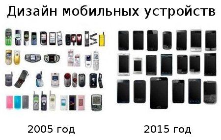 Дизайн старых и новых мобильных телефонов