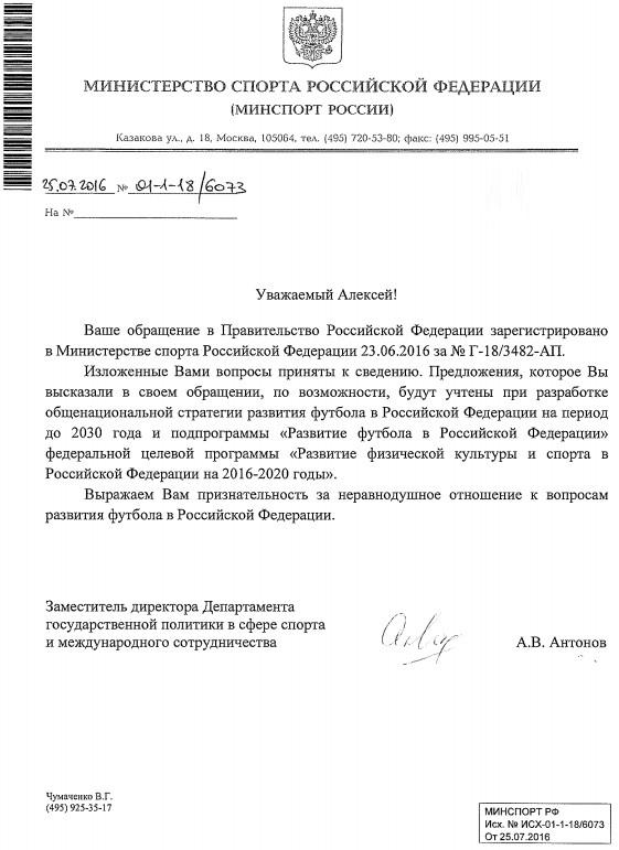 ответ из министерства спорта по поводу развития футбола в России